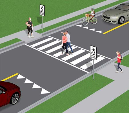 Pedestrian Crossing without flashing lights