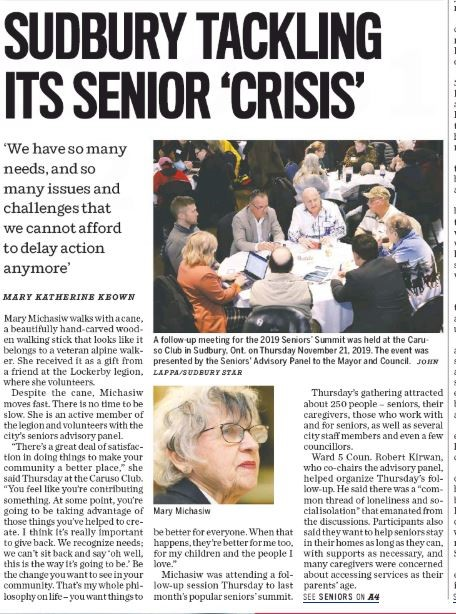 Image of newspaper article entitled Sudbury Tackling its Seniors 'Crisis'