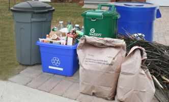 Various waste at curb for collection